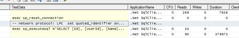Sql Server Profiler - wynik zapytania QueryMultipleAsync